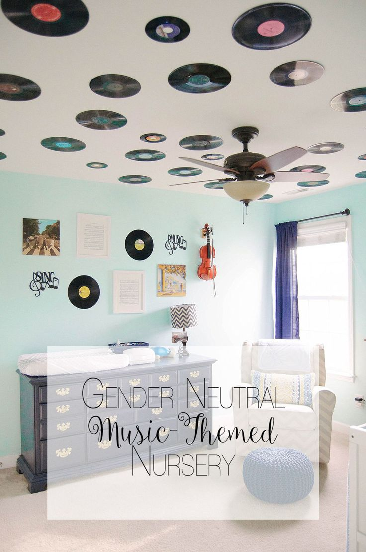 Gender Neutral Music / Record Themed / Navy, Teal, Grey Chevron and Stripe Nursery (1)