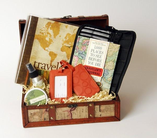 Thoughtful Presence - World Travel Gift Basket for Him, $139.25 (http://www.thoughtfulpresence.com/world-travel-gift-basket-for-him/)