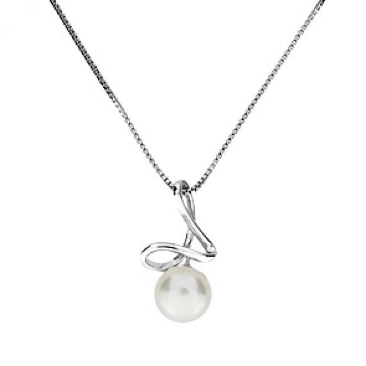 Silver & Pearl Folded Ribbon Pendant #Silver #Pearl #Necklace #Pendant #PearlNecklace #WeddingJewellery
