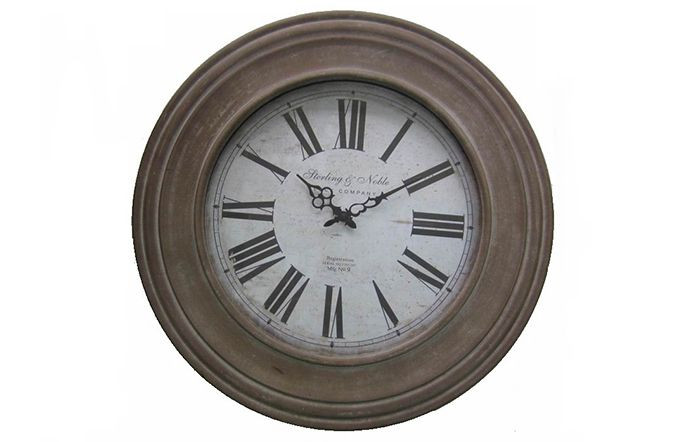 Old world charm is exuded through this elegant and simple wall clock. The Sterling & Noble clock has rustic finish in a warm coffee coloured frame. Strong Roman Numerals on an off-white clock face complete an authentic look. This clock would look great in an décor setting in your home. 60cm. €139  http://www.michaelmurphy.ie/product/map-of-world-wall-clock/
