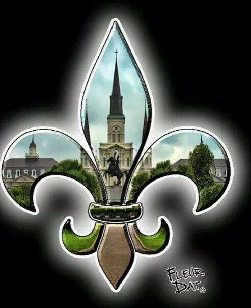 LOVE this! St. Louis Cathedral inside a Fleur de Lis symbol. Classic icons of my hometown of New Orleans!
