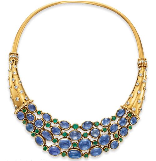 Sapphire, diamond, emerald and gold Cornucopia necklace, 1938, Christie's