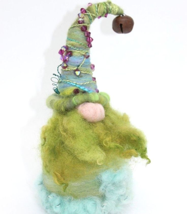 Needle Felted Handmade Wool Gnome Made with Swarovski Crystal Beads, M Philbrook #Unbranded #AllOccasion