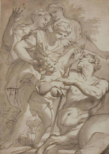 Domenico Piola   Nymphs entrusting Chiron with the infant Achilles   Artsy