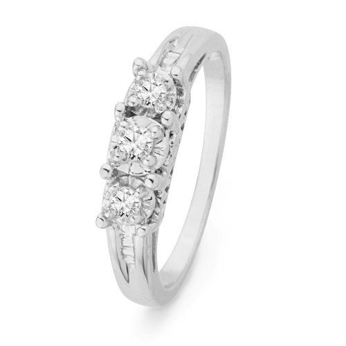 Platinum Plated Sterling Silver Baguette and Round Diamond Three Stone Ring (1/6 cttw) D-GOLD. $109.00