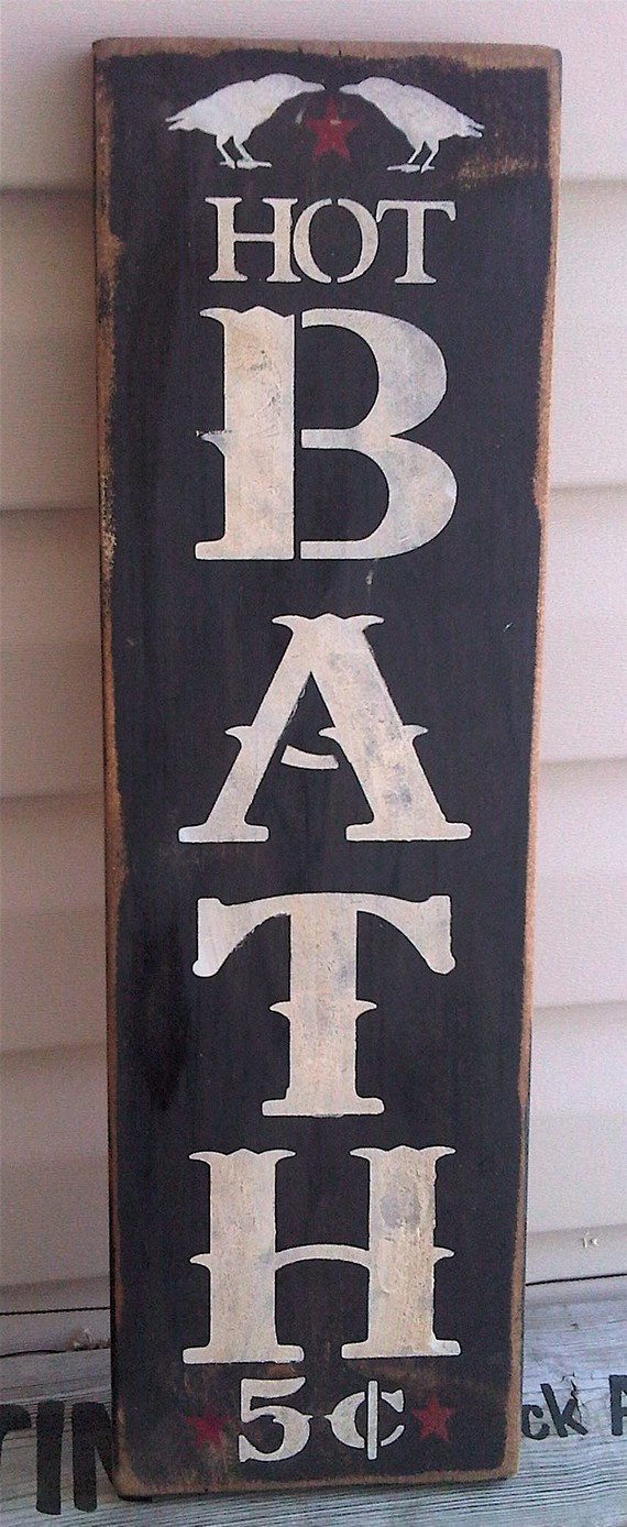 Primitive Bathroom Bath Sign with Crows by tinkerscottage on Etsy, $20.00