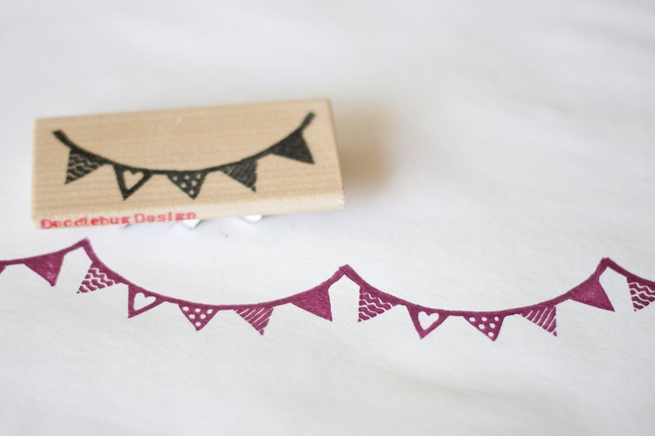 Hand Carved Decorated Bunting Stamp by doodlebugdesign on Etsy: Decorated Bunting, Craft, Handmade Stamps, Etsy, Buntings, Art Stamps