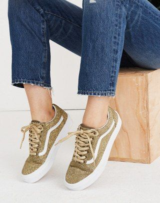 Vans® Unisex Old Skool Lace-Up Sneakers in Gold Glitter  e890b7e4c
