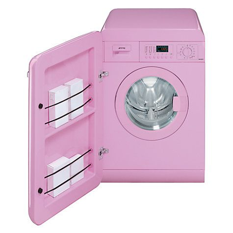 Buy Smeg WMFABRO1 Slim Depth Freestanding Washing Machine, 7kg Load, A Energy Rating, 1400rpm Spin, Pink Online at johnlewis.com