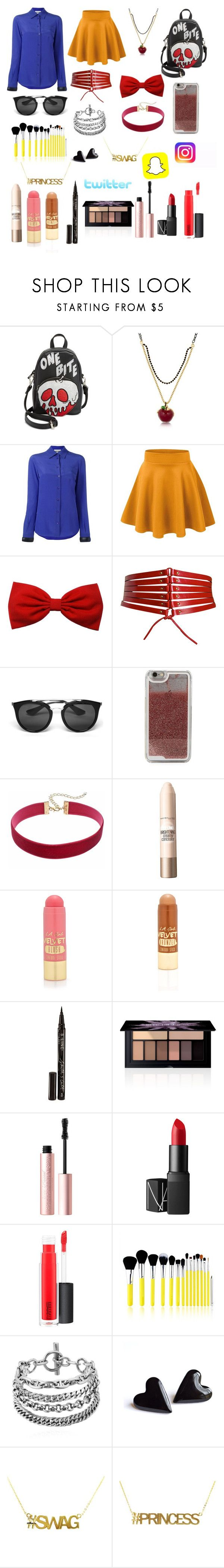 """""""Snow White the Social Media Queen"""" by lillyquest7 ❤ liked on Polyvore featuring Danielle Nicole, Disney, Moschino, Alaïa, Prada, LMNT, Maybelline, L.A. Girl, Smith & Cult and Smashbox"""