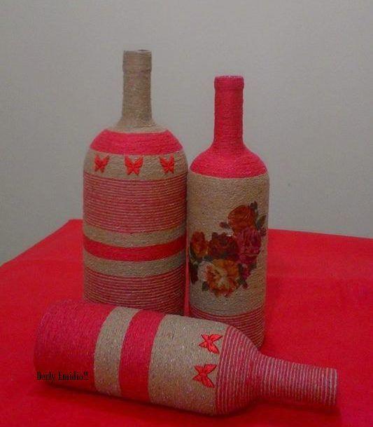 Como decorar sua festa infantil, Casamento e Chá de Noivas e Chá de Bebe, reciclando, Garrafas Decoradas. E Restaurações de vasos e vasilhas !!! Aceitamos Encomendas!!