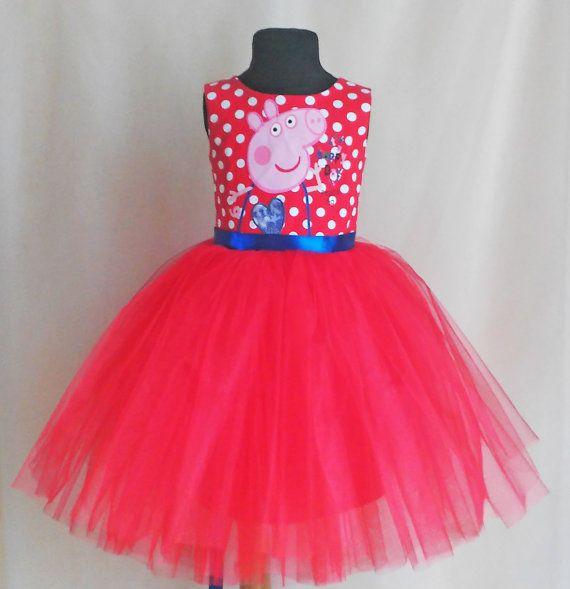 Red Polkadot Peppa Pig Dress Peppa Pig Birthday от SugarShopDress