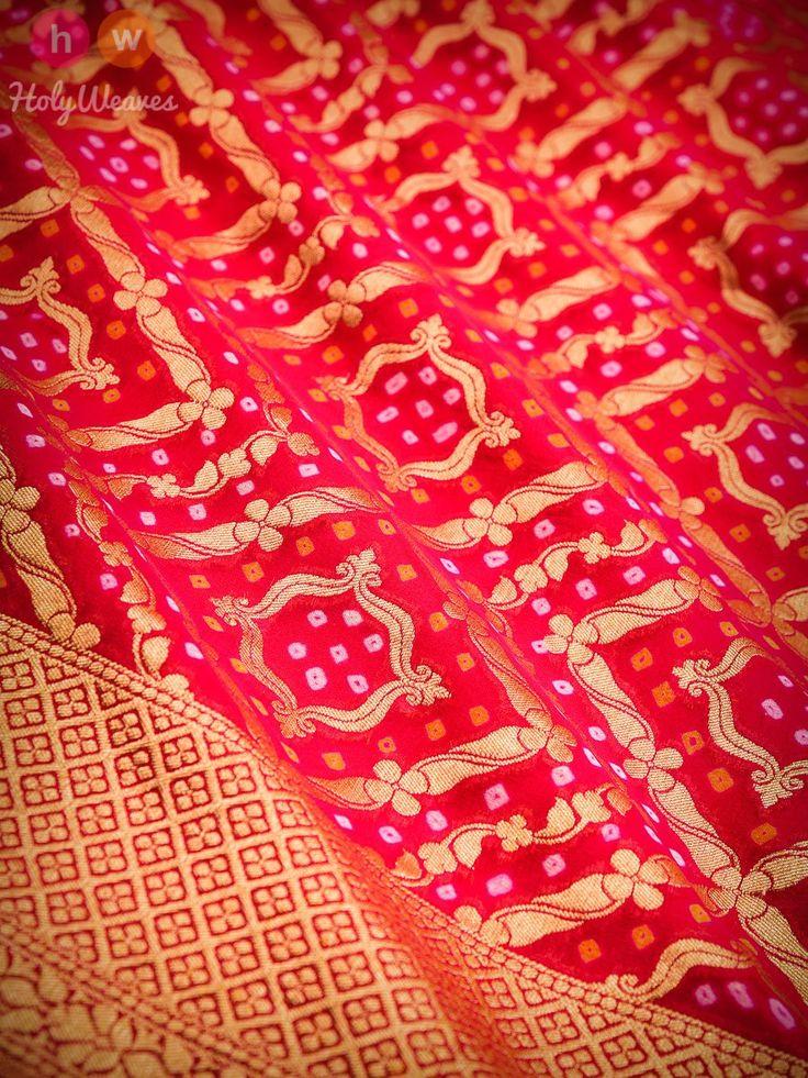Red Banarasi Khaddi Bandhani Cutwork Brocade Handwoven Georgette Saree 2