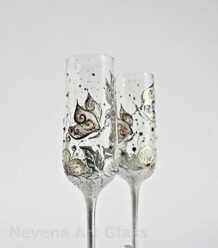 Wedding Glasses Butterfly And Flowers Vanilla Purple