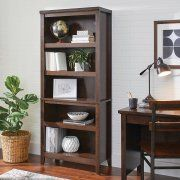 Better Homes and Gardens Parker 5 Shelf Bookcase, Classic Cherry Finish Image 1 of 2