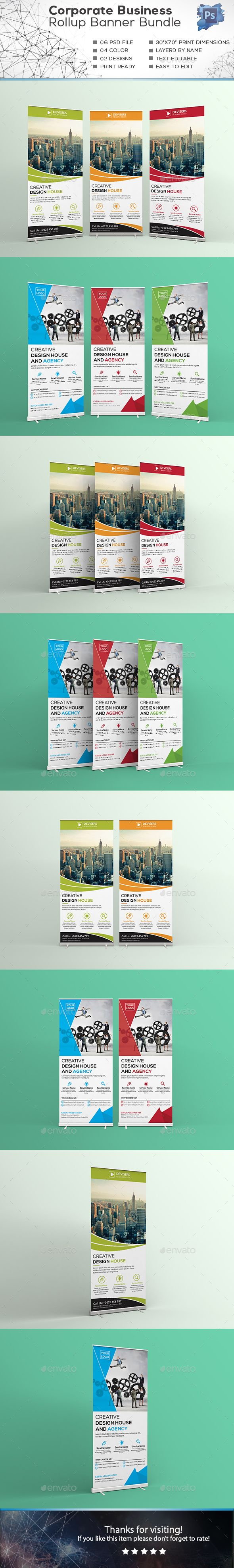 Corporate Business Roll-up Banner Design Bundle - Signage Print Template PSD. Do...