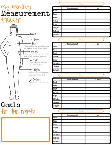 My Monthly Measurement Tracker - free to print | Fitness ...