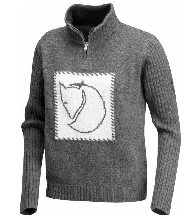 Fjällräven Louise Sweater - Women's soft knitted wool sweater with Fjällräven fox logo on the chest. High, ribbed collar with short zipper.  www.ScandinavianOutdoorStore.com