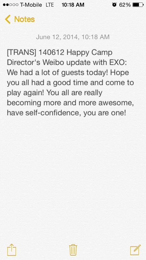 Happy Camp Director's Weibo update with EXO #2
