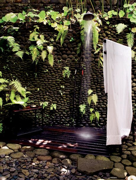 Outdoor shower is necessary. I would use a lighter wood than cherry though.