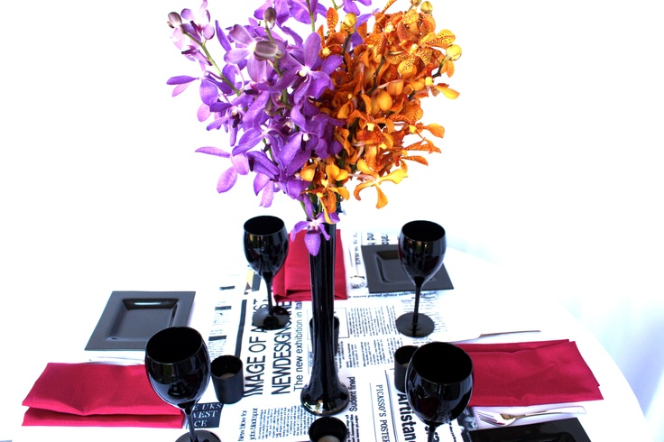 Linen, Vases and Floral Design - Decor It Events. Vogue Style Linen with Raspberry napkins in Black Gloss Fish Bowl #centerpiece #tablelinen #styling #newspaper #linen #blackandwhite #weddings #events #wedding #linenhire #linen #melbourne #melbourneevents #decorations #inspiration #tablelinen #decoritevents (30)