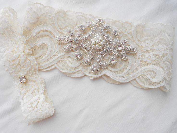 Wedding Garter Set Ivory Stretch Lace Bridal Garter Set With Classic Pearls and  Rhinestones Bridal Garter Set.. $38.50, via Etsy.