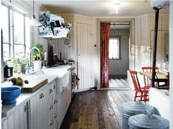 Wonderful 33 Rustic Scandinavian Kitchen Designs : 33 Rustic Scandinavian Kitchen Designs With White Wooden Wall Wash Basin Window Stove Oven Cabinet Door Lamp Dining Table Red Stool Basket Red Curtain Hardwood Floor