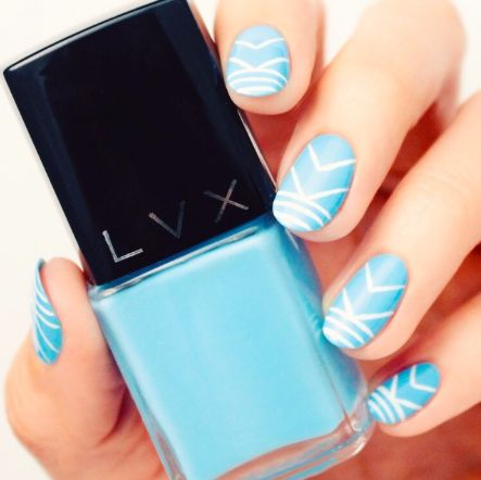 dive into summer with this powder blue geometric mani