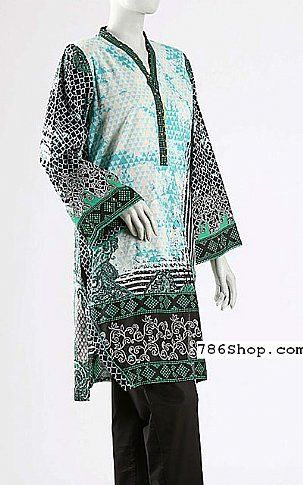 Turquoise/Black Lawn Suit | Buy Junaid Jamshed Eid Collection Pakistani Dresses and Clothing online in USA, UK