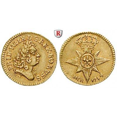 Brandenburg-Preussen, Königreich Preussen, Friedrich Wilhelm I., 1/4 Dukat 1714, f.vz: Friedrich Wilhelm I. 1713-1740. 1/4 Dukat… #coins