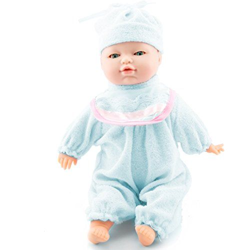 Meiyie 11 inch Cuddle Lifelike Little Soft Baby Play Doll Infant Toy,with Blinking Eyes,Shaking Mouth,can Talking,Giggling,Crying,Blue >>> Read more  at the image link.
