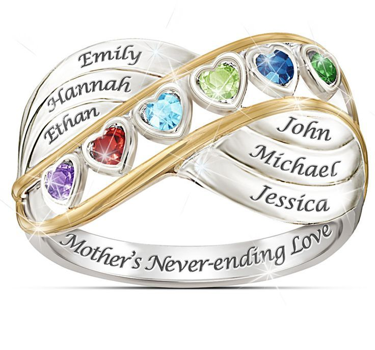 Personalized Name Birthstone Mother/'s Rings Wedding Valentines Gifts for Lover