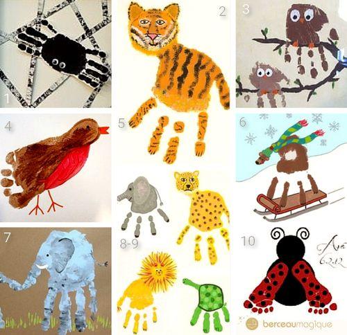 Animaux réalisés avec les empreintes des mains ou des pieds !Une araignée, presque terriblement effrayanteUn tigre réalisé avec l'empreinte