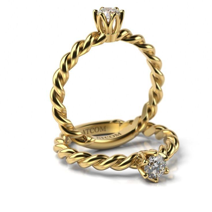 Inel de logodna William cu diamant din aur galben