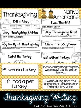 Thanksgiving Writing Have some fun with this Thanksgiving Writing Pack!  Included in this pack;  * Word Wall Cards - key vocab * 5 Senses of Thanksgiving * Roll a Story * I am thankful for * Thanksgiving Opinion * My Thanksgiving Feast - draw, label and describe * My Family at Thanksgiving - draw, label and describe * Life on the Mayflower - Postcard writing * Label the Turkey * Turkeys can, have, are * 16 Writing Prompts