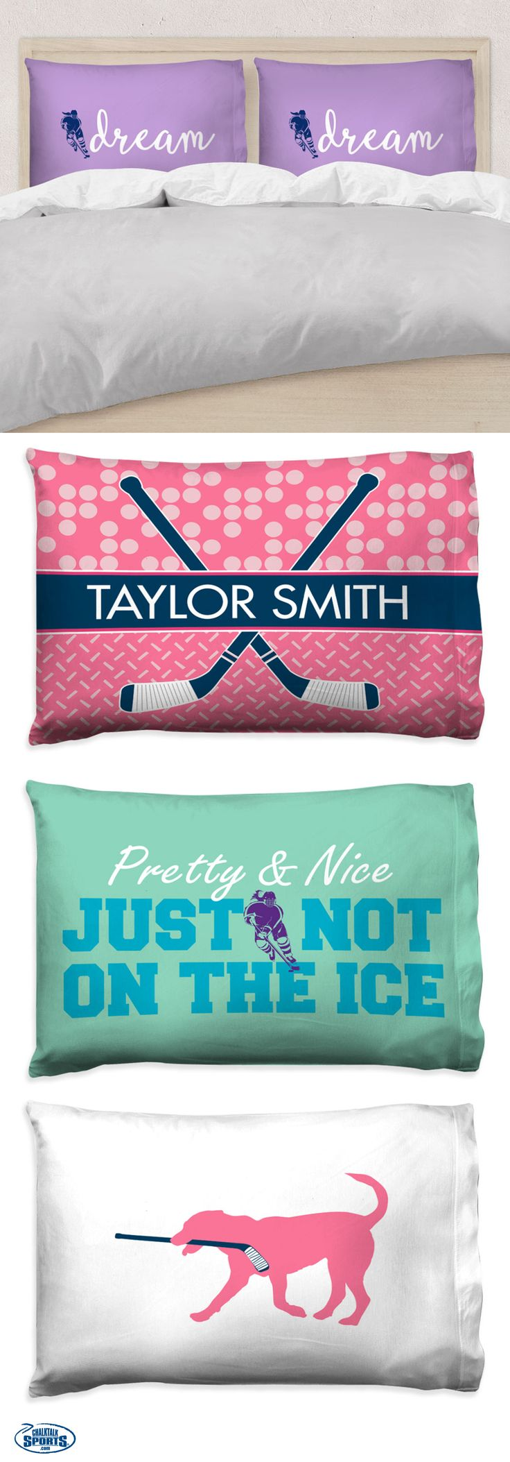 Our newest pillow cases will serve as the perfect touch of hockey spirit to any hockey girls bedroom! Choose from custom colors and personalized options for a special gift that she'll love!