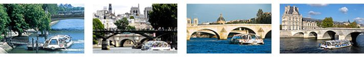 """The """"Batobus"""" and travel on the Seine. The Batobus are river buses that go up and down the Seine from the Eiffel tower to the quai de Montebello (near Notre Dame). There are 8 stops in all. A day pass at the start of 2014 costs 15 €, and a 2-day pass costs 18 € per adult."""