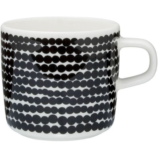 Marimekko Siirtolapuutarha Mug - White/Black ($20) ❤ liked on Polyvore featuring home, kitchen & dining, drinkware, porcelain tea mugs, porcelain mugs, white porcelain mugs, porcelain tea cups and polka dot tea cups