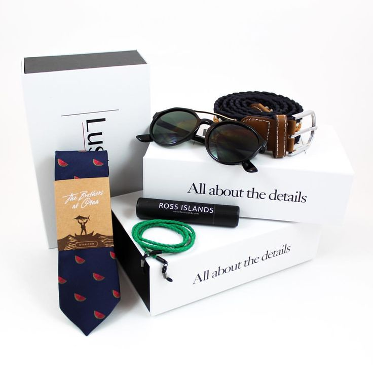 2016 June Box - Watermelon tie by OTAA, woven belt by John Harris, Sunglasses by Zerouv and eyewear retainers by Ross Islands. Try out our subscription box.