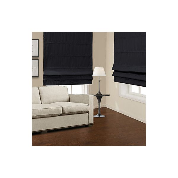 Modern Black Blackout Roman Shade ❤ liked on Polyvore featuring home, home decor, window treatments, window blinds, black window shades, black home decor, black blinds, black window treatments and black roman shade