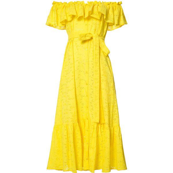 Lisa Marie Fernandez bardot frill dress (72.870 RUB) found on Polyvore featuring women's fashion, dresses, vestidos, flounce dress, ruffle sleeve dress, tie waist dress, lemon yellow dress and flutter sleeve dress