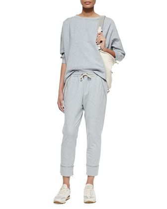 Shimmer-Trimmed French Terry Sweatshirt & Sweatpants, Pearl by Brunello Cucinelli at Bergdorf Goodman.