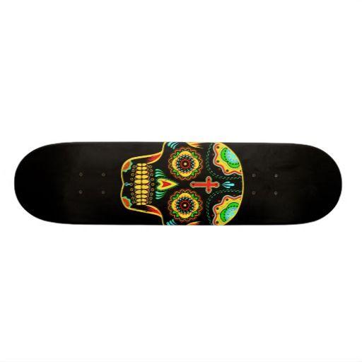 Full color sugar skull skate board deck #skateboard #sugarskull @GrafikProd