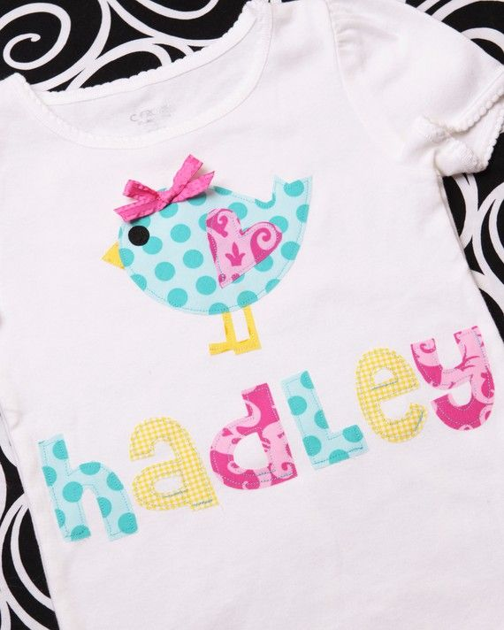 Custom Personalized Appliqued Spring Baby-Birdie tee. Ohh soo cute! You will receive one tee or onesie created to your specifications. Your