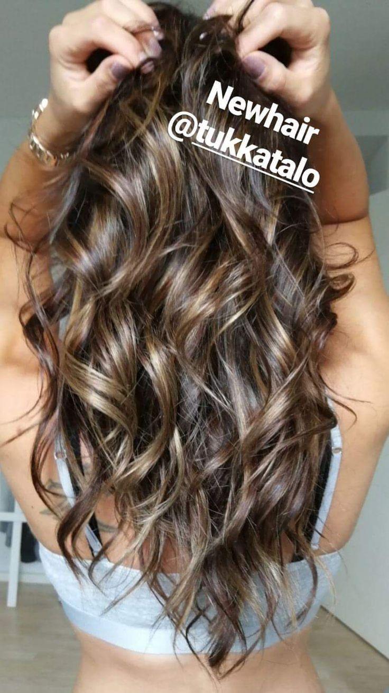 "#Highlights #brownhair #hairextensions #microring #coldbrown #tukkatalo ""newhair #longhair #curls"