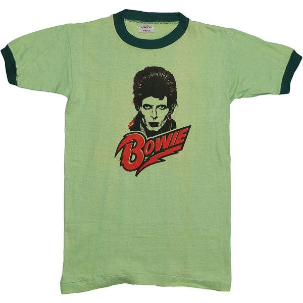 David Bowie 1970s Diamond Dogs t Shirt Vintage rare Ziggy Stardust tee... ($866) ❤ liked on Polyvore featuring tops, t-shirts, vintage t shirts, diamond t shirts, david bowie t shirt, collar t shirt and white tee