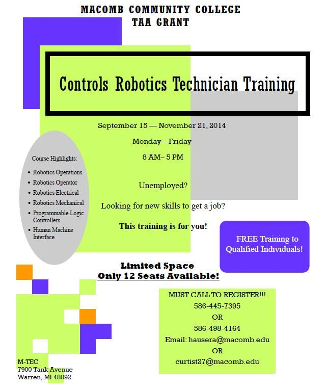 Macomb/St. Clair Michigan Works - TRAINING OPPORTUNITY- Macomb Community College: Controls Robotics Technician Training