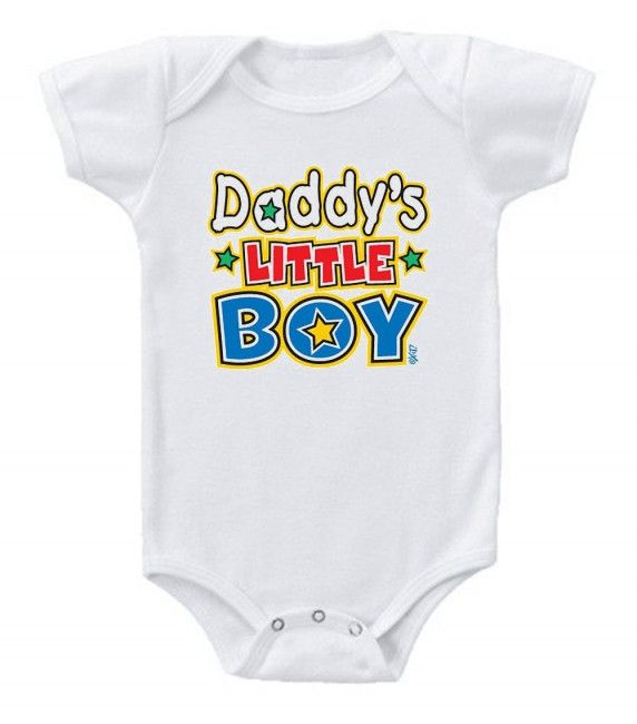Daddy's have a very special relationship with their little guys. Celebrate dad this Father's Day and everyday with this cute Daddy's Little Boy one piece. Available in white or blue. Printed in the US