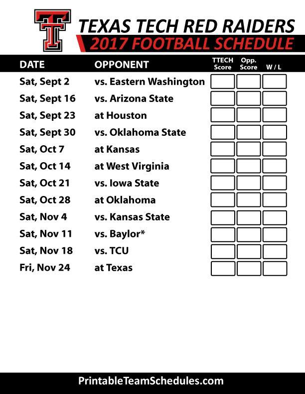 2017 Texas Tech Red Raiders   Football Printable Schedule
