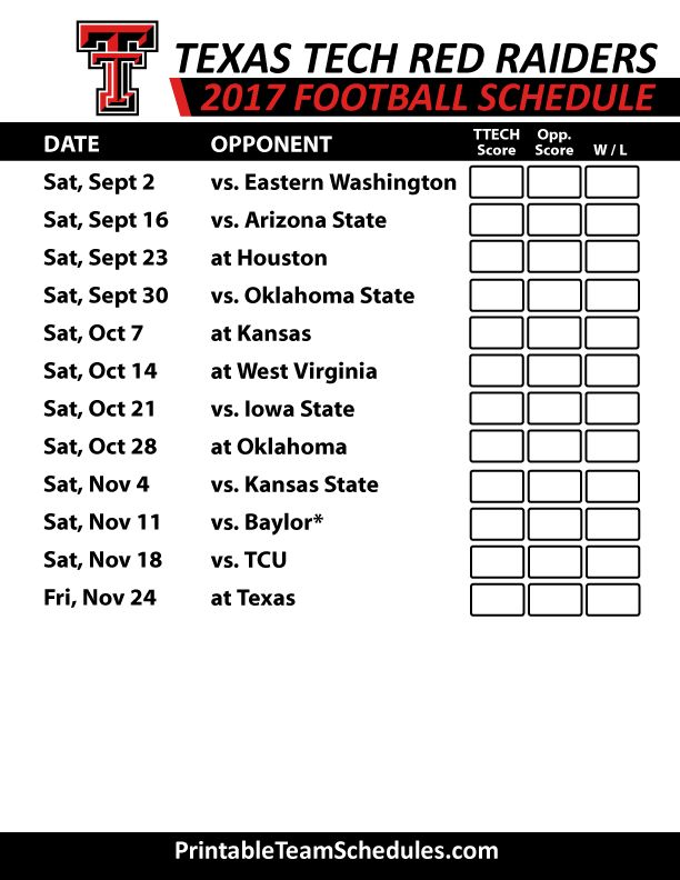 2017 Texas Tech Red Raiders Football Schedule